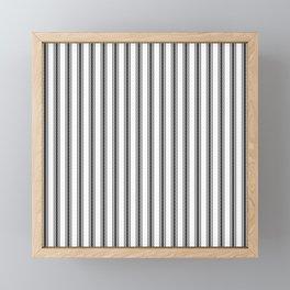 Black and White English Rose Trellis in Mattress Ticking Stripe Framed Mini Art Print