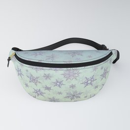 Snowflakes Embroidered on Misty Sky Fanny Pack