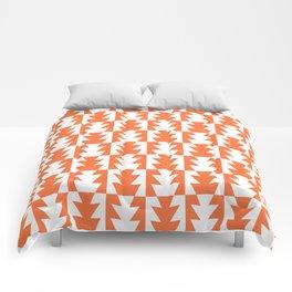 Art Deco Jagged Edge Pattern Orange Comforters
