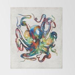 Colorful Octopus Art by Sharon Cummings Throw Blanket
