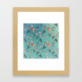 Vintage Watercolor hummingbirds and fuchsia flowers Framed Art Print