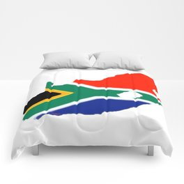 South Africa Map with South African Flag Comforters