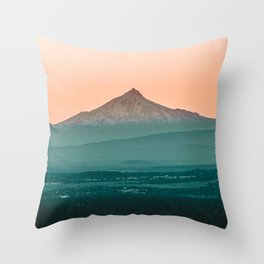 Stratovolcano Sunset // Beautiful Scenic Oregon Mountain Scape Teal Rolling Hills Snow Summit Throw Pillow