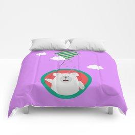 Polar Bear with Kite in cirle Comforters