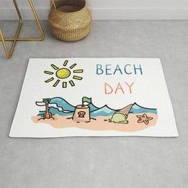 Cute sunny beach day cartoon illustration motif set Rug