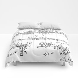 Flute Patent - Musician Art - Black And White Comforters