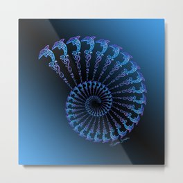 Tribal Dolphin Spiral Shell Metal Print