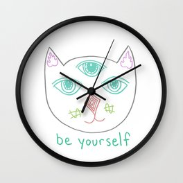 Three Eyed Cool Cat Wall Clock