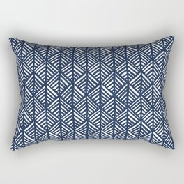 Abstract Leaf Pattern in Blue Rectangular Pillow