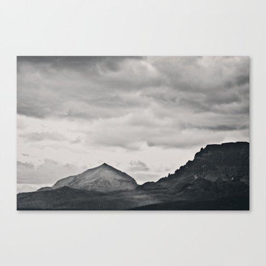 Mountain Peak and Plateau Black and White Canvas Print