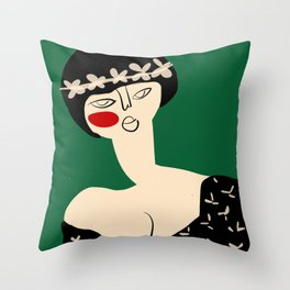 Girl with flower crown Throw Pillow