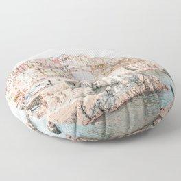 Positano, Italy Amalfi coast pink-peach-white travel photography in hd Floor Pillow