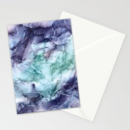 Growth- Abstract Botanical Fluid Art Painting Stationery Cards