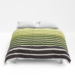 Watercolor Gouache Mid Century Modern Minimalist Colorful Olive Green Stripes Comforters