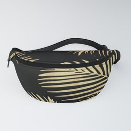 Gold Palm Leaves on Black Fanny Pack