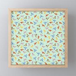 Wallpaper Birds Mint Green Framed Mini Art Print