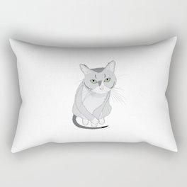 The digital drawing of cute tired cat Rectangular Pillow