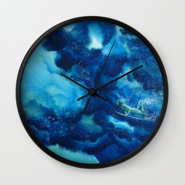 Duck Diver Green Wall Clock