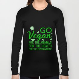 Go Vegan product | veggie vegetables health animals tee gift Long Sleeve T-shirt