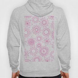 Hand painted pink white mandala floral Hoody