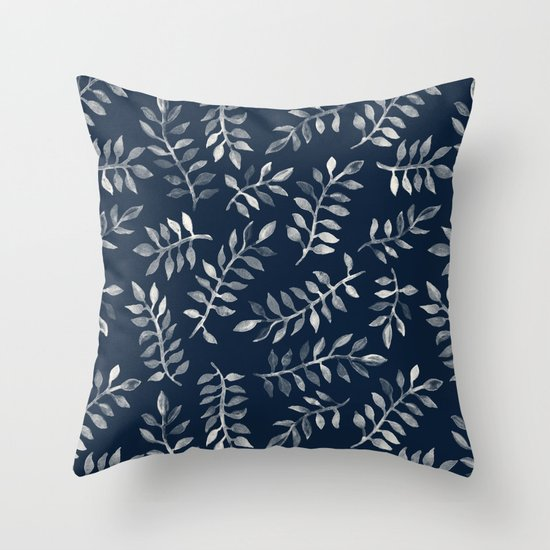 White Leaves on Navy - a hand painted pattern Throw Pillow