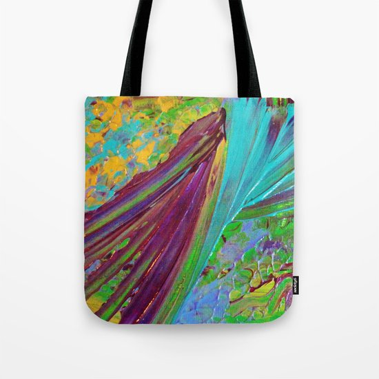 COLOR CHAOS Wild Vibrant Colorful Abstract Acrylic Painting Lime Green Plum Purple Gift Art Decor Tote Bag
