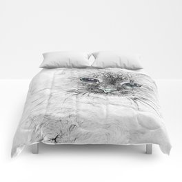 Siberian Kitty Cat Laying on the Marble Slab Comforters