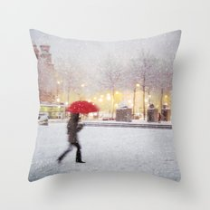 Antwerp in the Snow Throw Pillow