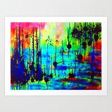 Waterlily Cat tails Art Print