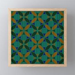 Geometric Floral Circles Textured Stripe Green Orange and Blue Framed Mini Art Print