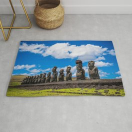 Moai Monolithics on Easter Island Rug