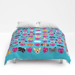 Cat Loves Dog Loves Cat Comforters