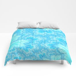 Abstract Christmas Aqua Blue Branches. Cute nature pattern Comforters