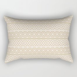 Gold and White Classic Nordic Christmas Pattern Rectangular Pillow