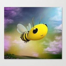 Bee Flying On Colour Sky Canvas Print