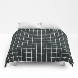 Charleston green - grey color - White Lines Grid Pattern Comforters