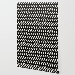 Tribal Dance Dot - Ivory on Black Wallpaper