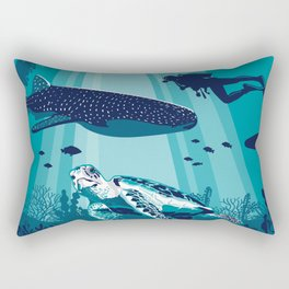 Belize Travel poster vintage tropical reef Rectangular Pillow