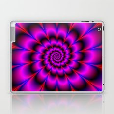 Spiral Rosette in Pink Blue and Red Laptop & iPad Skin