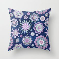 Folky SnowFlowers Throw Pillow