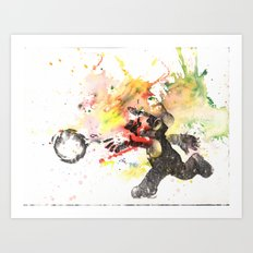 Mario Throwing Fireball Art Print