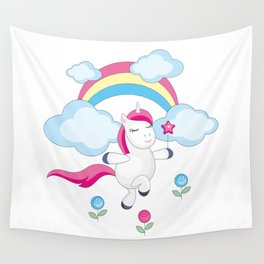 little unicorn and rainbow Wall Tapestry