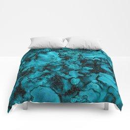 Blue Gemstone and Ink Malachite Glitter Marble Comforters