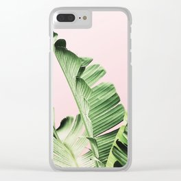 Banana Leaf on pink Clear iPhone Case
