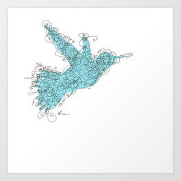Bird Fly 1 - Aqua/Brown Art Print