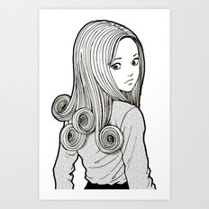 Kirie Goshima Spiral Hair - Uzumaki  (Junji Ito) Art Print