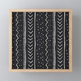 Moroccan Stripe in Black and White Framed Mini Art Print
