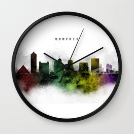 Memphis Watercolor Skyline Wall Clock