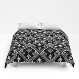 Abstract ethnic ornament. Black background 3. Comforters