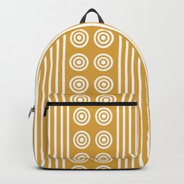 Geometric Golden Yellow & White Vertical Stripes & Circles Backpack
